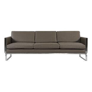 Orren Ellis Yunior Mid Century Modern Leather Sofa