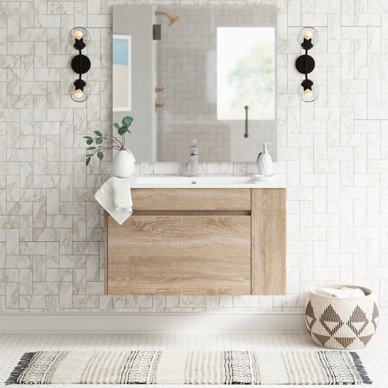 48 Inch Bath Vanity, Foundstone Fernando 64 Wall Mounted Single Bathroom Vanity Set With Mirror Wayfair