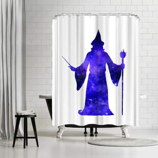 East Urban Home Peach & Gold Cosmic Wizard Shower Curtain