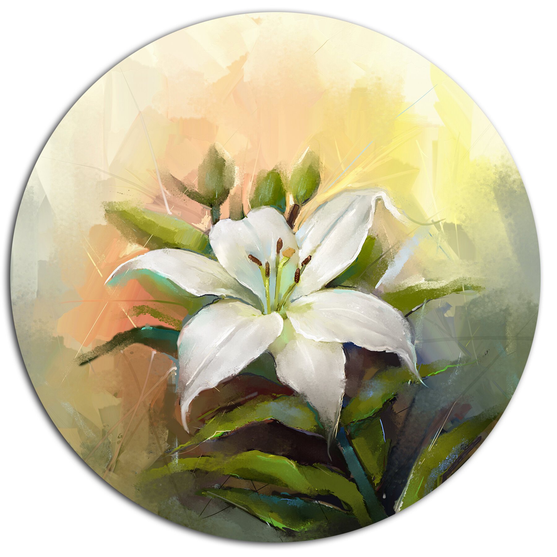 Designart white lily flower oil painting oil painting print on designart white lily flower oil painting oil painting print on metal wayfair izmirmasajfo