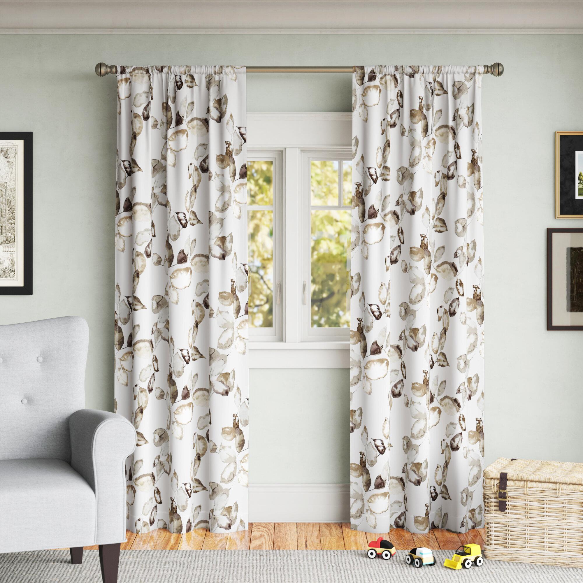 Andover Mills Richas Floral Room Darkening Thermal Rod Pocket Single Curtain Panel Reviews Wayfair