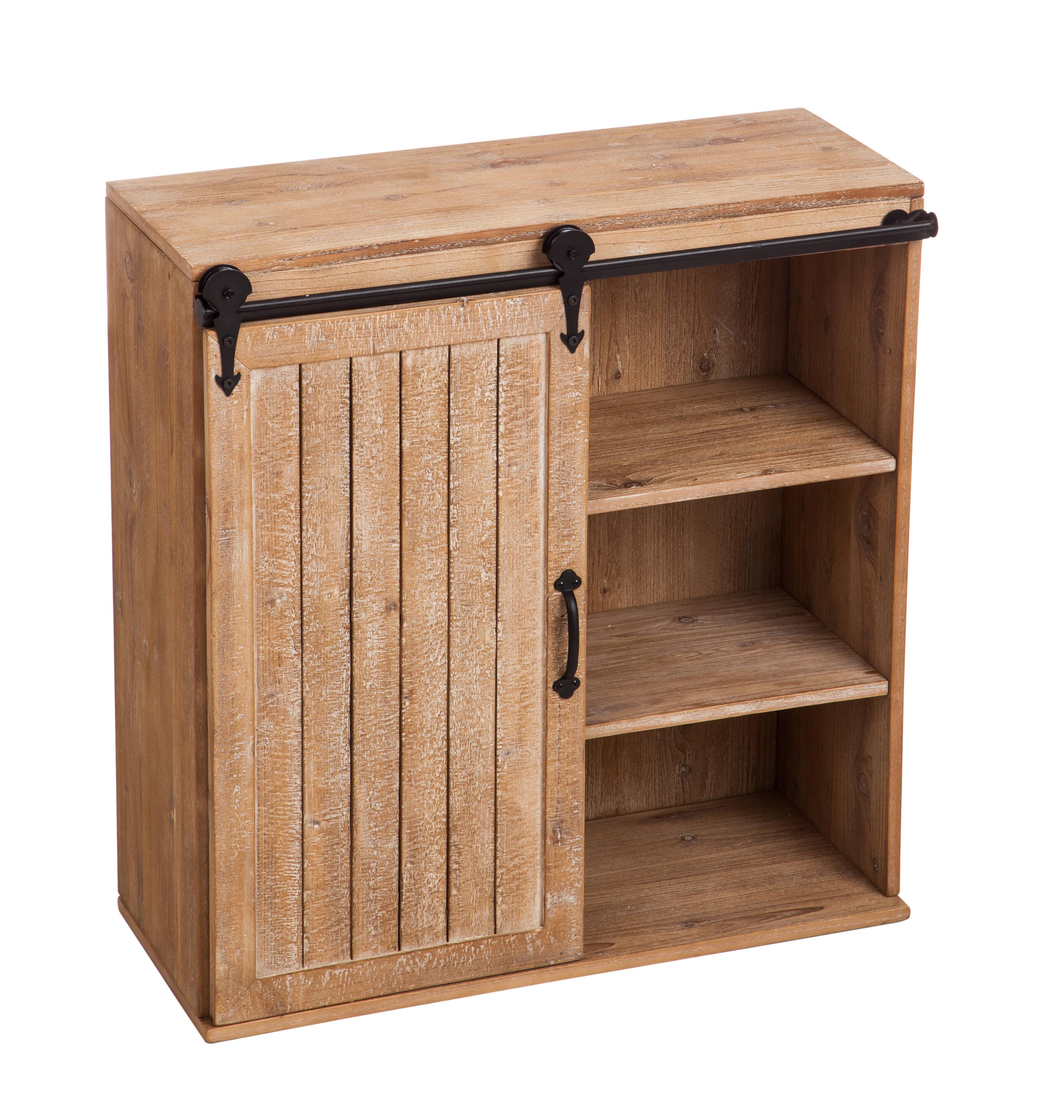 Khoa Wooden Display Hutch Wall Shelf