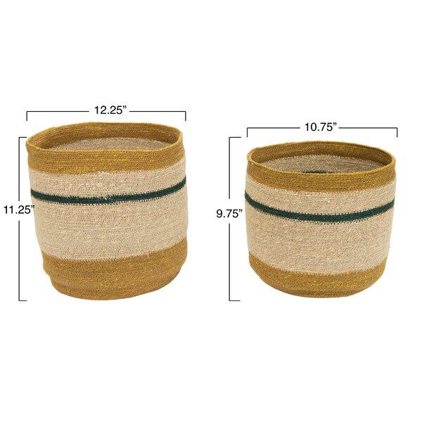 Handwoven Striped 2 Piece Wicker Basket Set Reviews Joss Main