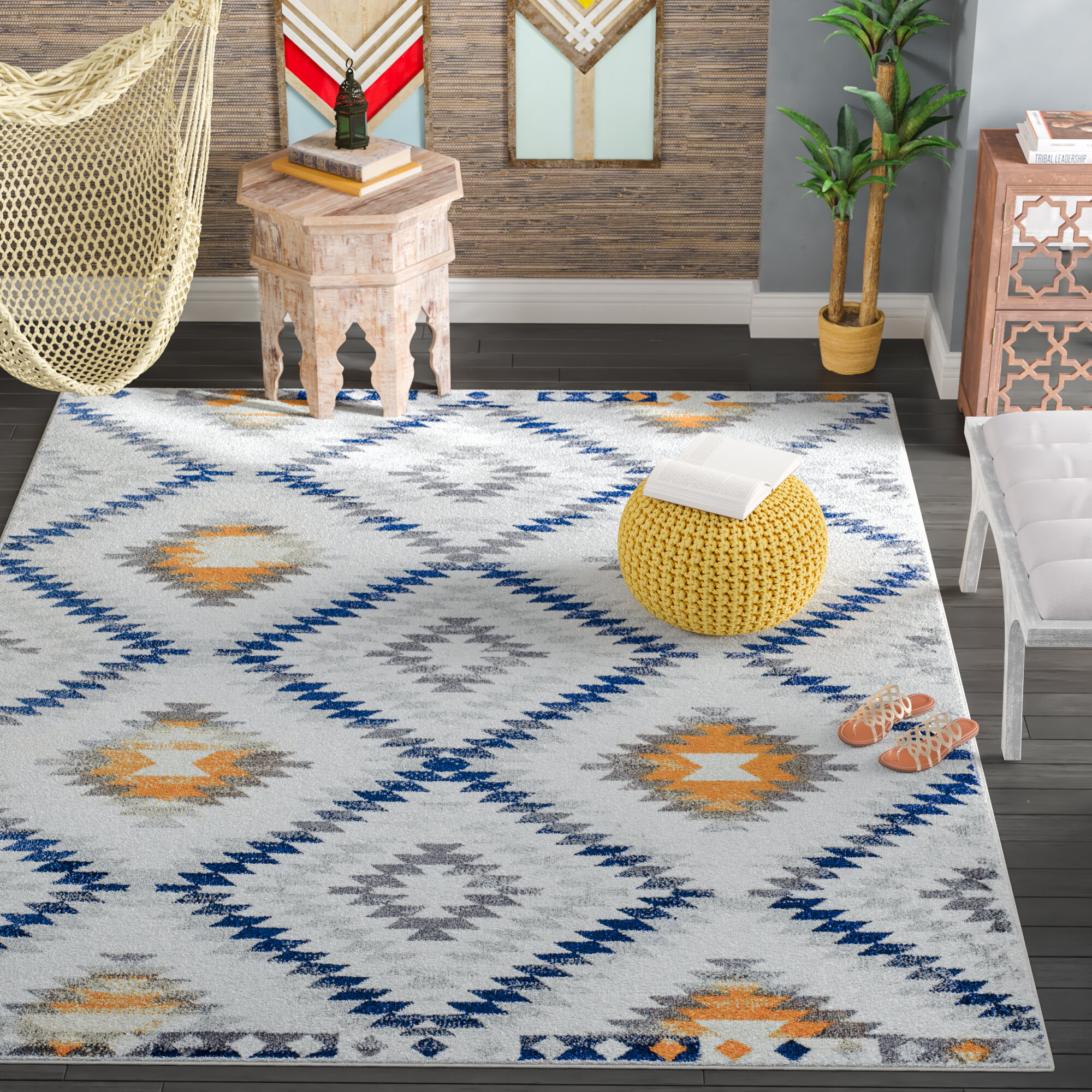Picture of: Cosmoliving By Cosmopolitan Southwestern Ivory Blue Yellow Area Rug Reviews Wayfair Ca