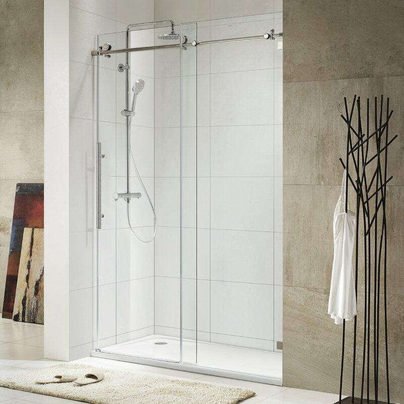 Trident Lux 60'' x 76'' Single Sliding Frameless Shower Door