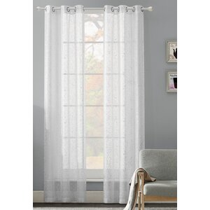 Giovanna Abstract Sheer Grommet Curtain Panel Pair (Set of 2)