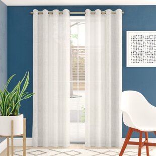 Angeline Breathable Mixed Linen Sheers Nickel Grommet Curtain Panels (Set of 2) by Eider & Ivory