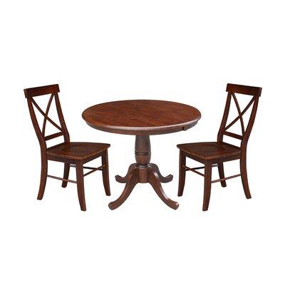 Petra Extendable Pedestal 3 Piece Solid Wood Bistro Set August Grove Color: Espresso