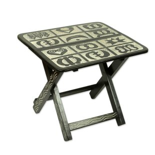 Luiza Adinkra Folding Wood End Table by World Menagerie