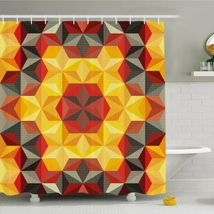 Modern Art Home Psychedelic Design with Geometric Kaleidoscope Diagonal Fractal Star Image Shower Curtain Set