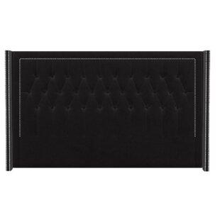 Review Freestanding Studded Upholstered Headboard