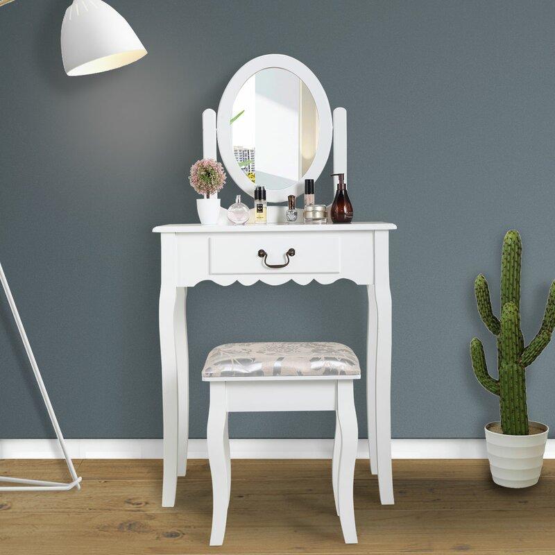 House Of Hampton Riney Makeup Vanity Set With Stool And Mirror Wayfair