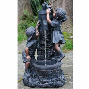 Northlight Seasonal Polystone Children at the Water Pump Well Outdoor Water Fountain