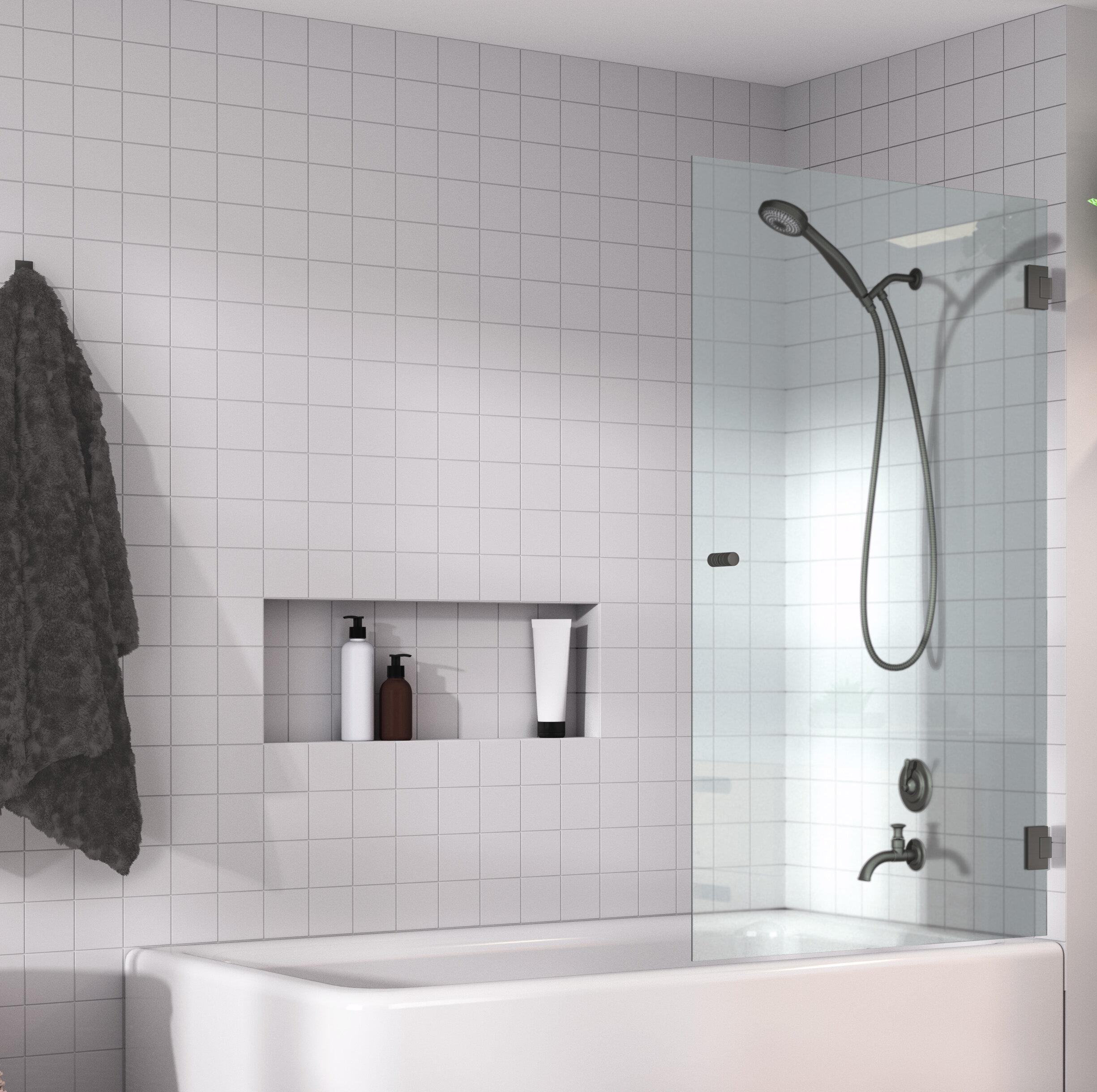 32 X 58 Hinged Frameless Shower Door