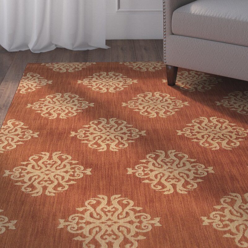 Alcott Hill Alfreda Orange Area Rug, Size: Rectangle 67 x 96