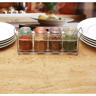 Mini Optic Hermetic 4 Spice Jar & Rack Set (Set of 5)