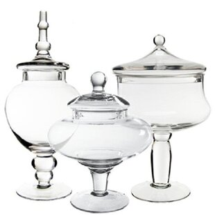 Glass Candy Buffet 3 Piece Apothecary Jar Set