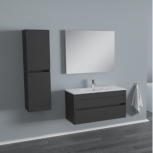 Whiteley 39 Wall-Mounted Single Bathroom Vanity Set with Mirror (Set of 3) By Orren Ellis