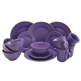 Whyte 16 Piece Dinnerware Set Service for 4  sc 1 st  Wayfair & Purple Dinnerware Sets You\u0027ll Love | Wayfair