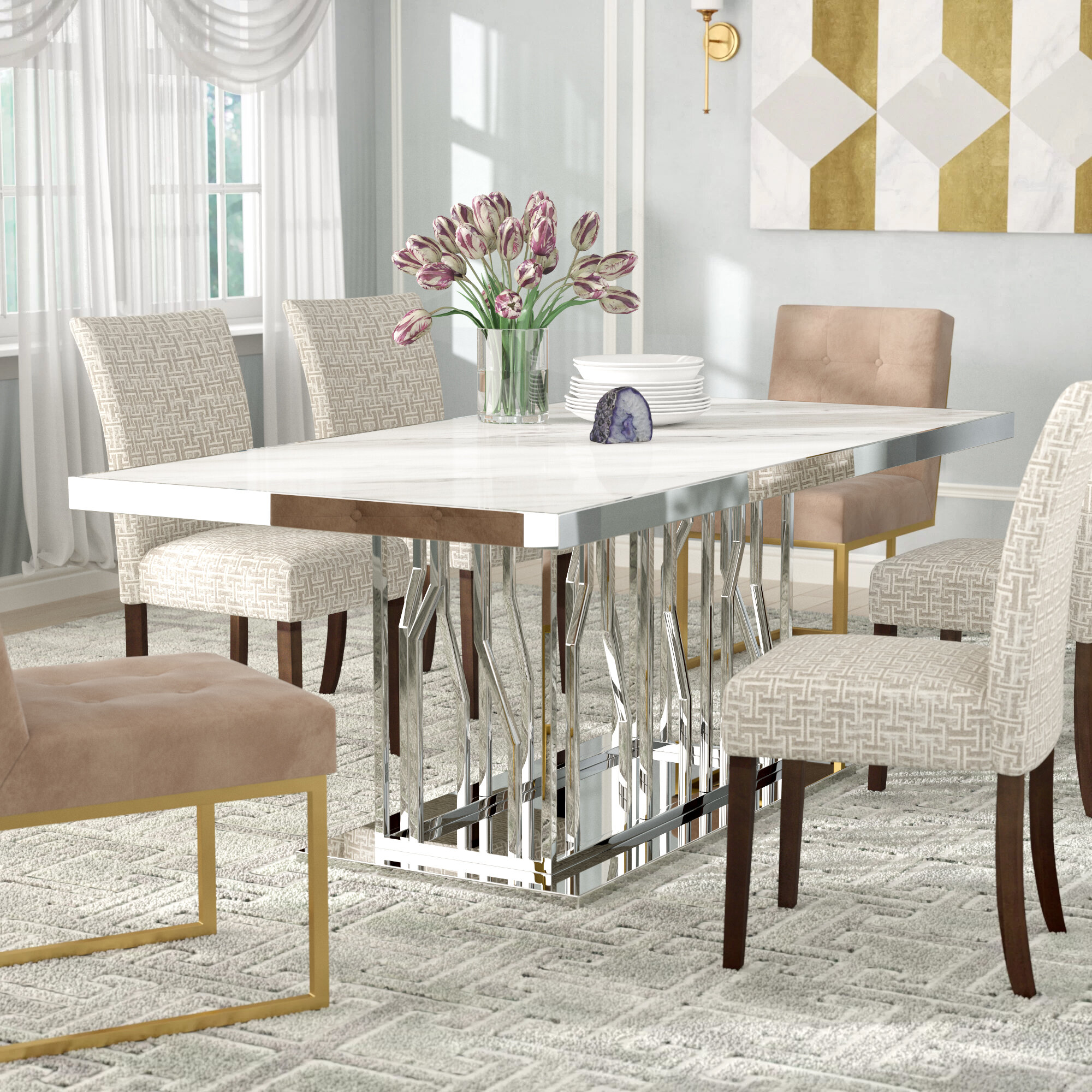 Picture of: Everly Quinn Altus Marble And Stainless Steel Dining Table