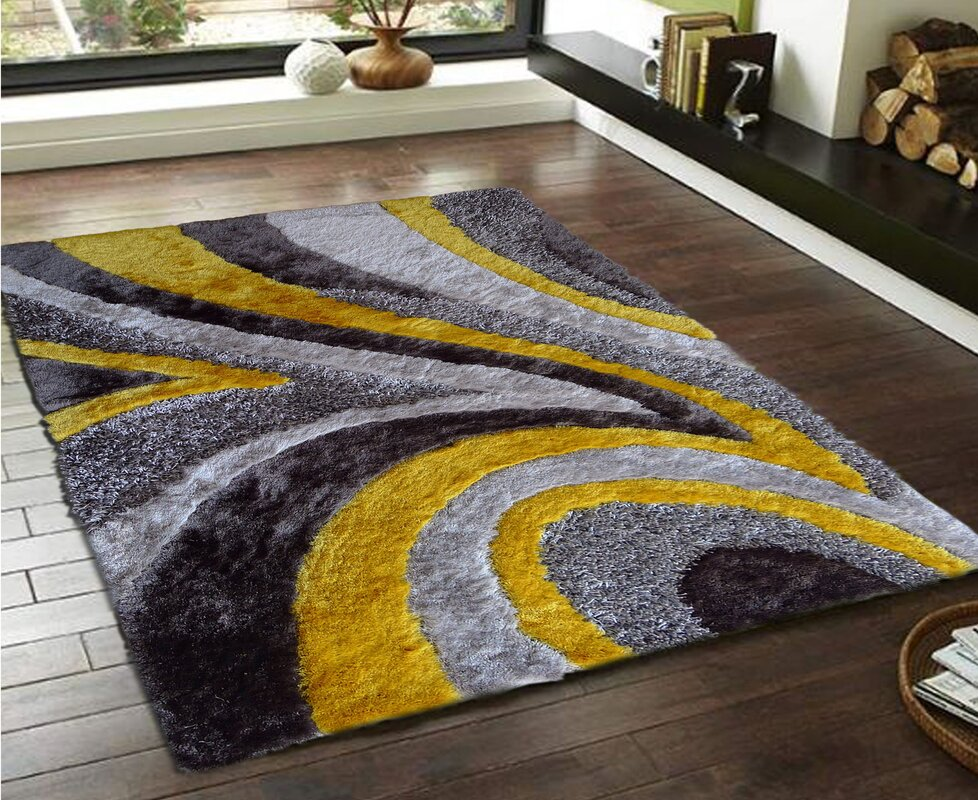 Hand Tufted Gray Yellow Area Rug