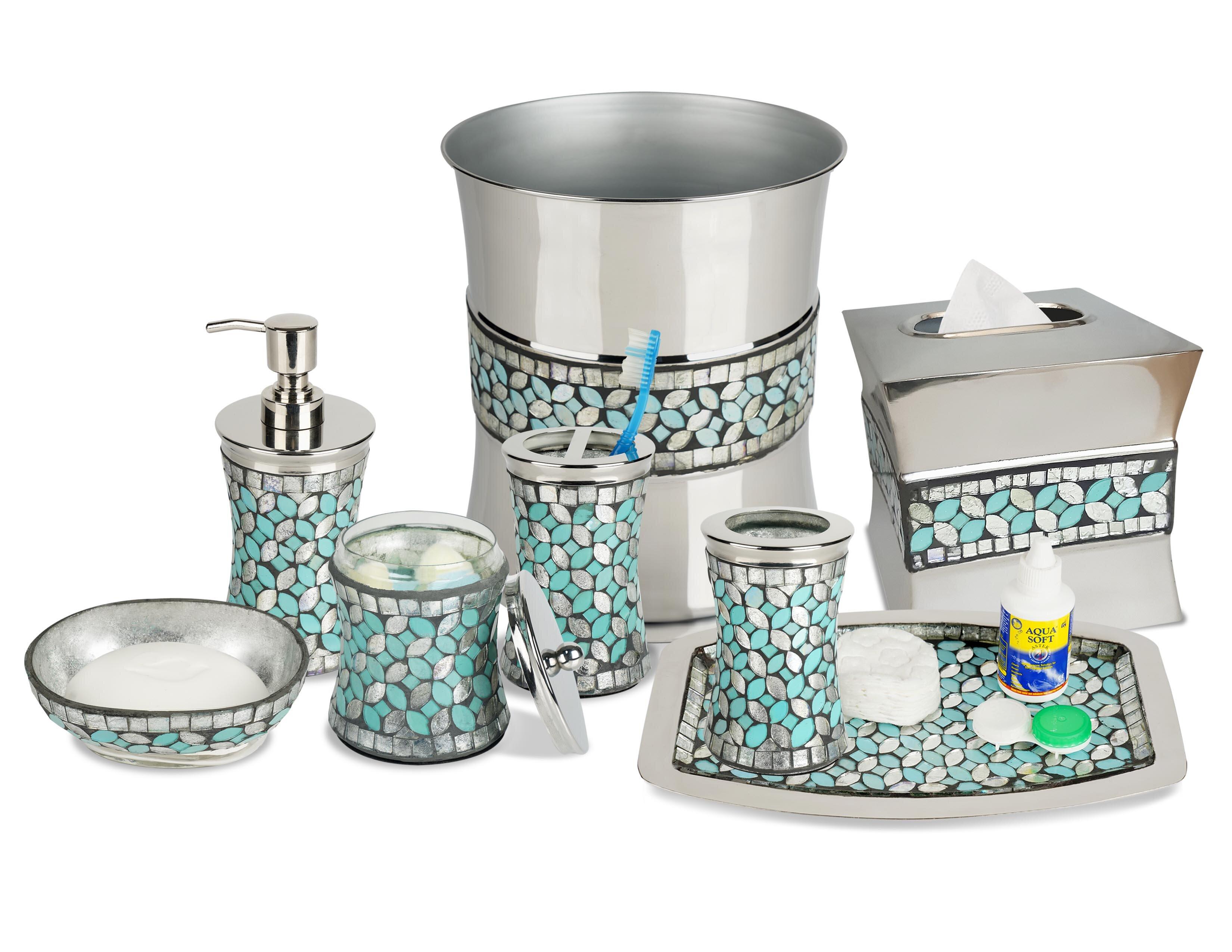 Nu Steel Sea Foam Mosaic Glass Steel 8 Piece Bathroom Accessory Set Reviews Wayfair