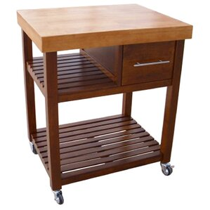 deason dining essentials kitchen cart with butcher block top