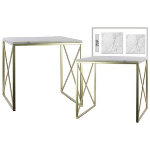 House of Hampton Cheetham Crisscross 2 Pieces Nesting Tables with Marble Top