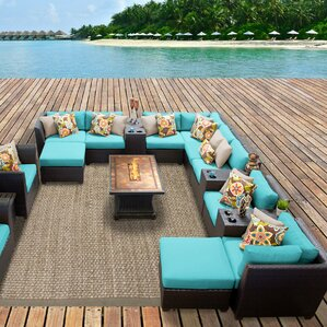 Delightful Barbados Outdoor Wicker 17 Piece Fire Pit Seating Group With Cushion