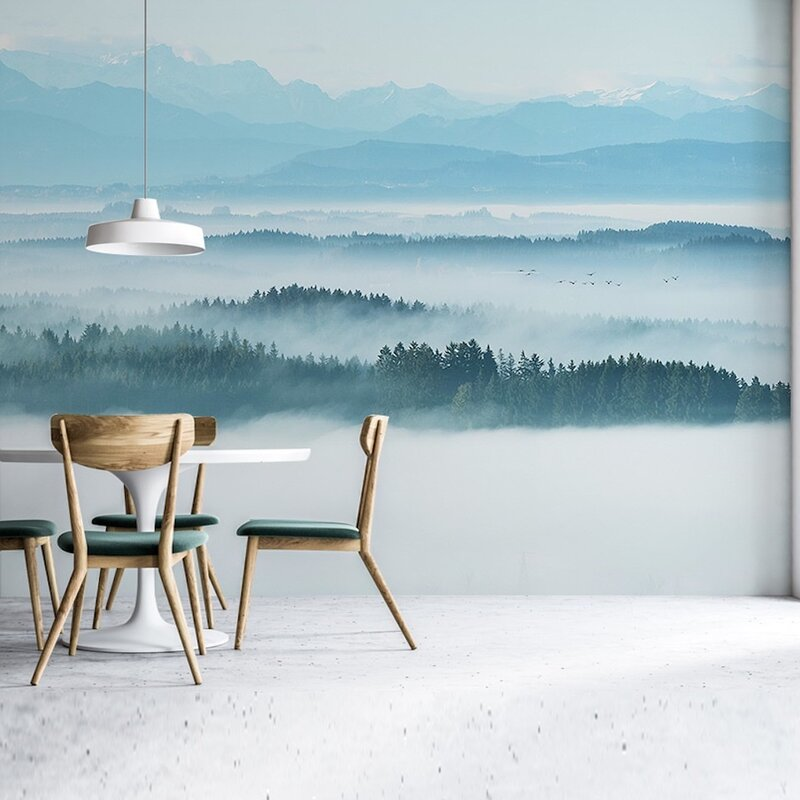 Gk Wall Design Peel And Stick Misty Nature Mountain Removable Wallpaper Wayfair