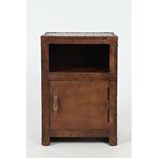 Hera Leather One Door and Open Shelf End Table with Storage by 17 Stories