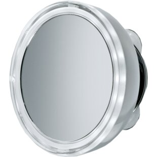 Symple Stuff Korman Round Suction Cup LED Makeup/Shaving Mirror