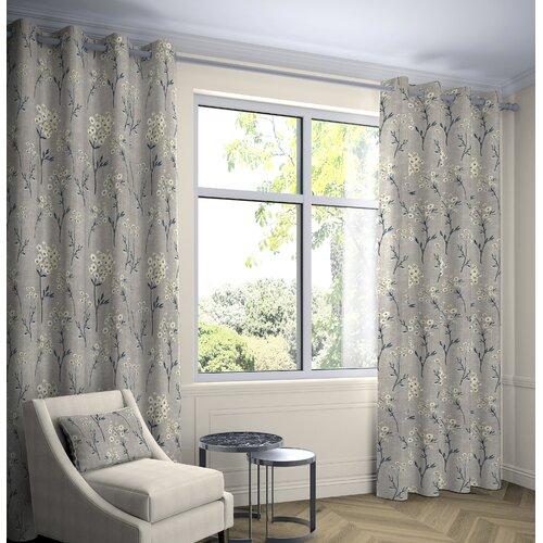 Precita Blackout Eyelet Thermal Curtains Fleur De Lis Living Colour: Soft Grey, Panel Size: Width 116 W x Drop 228 cm, Light Filtration/Thermal: Room