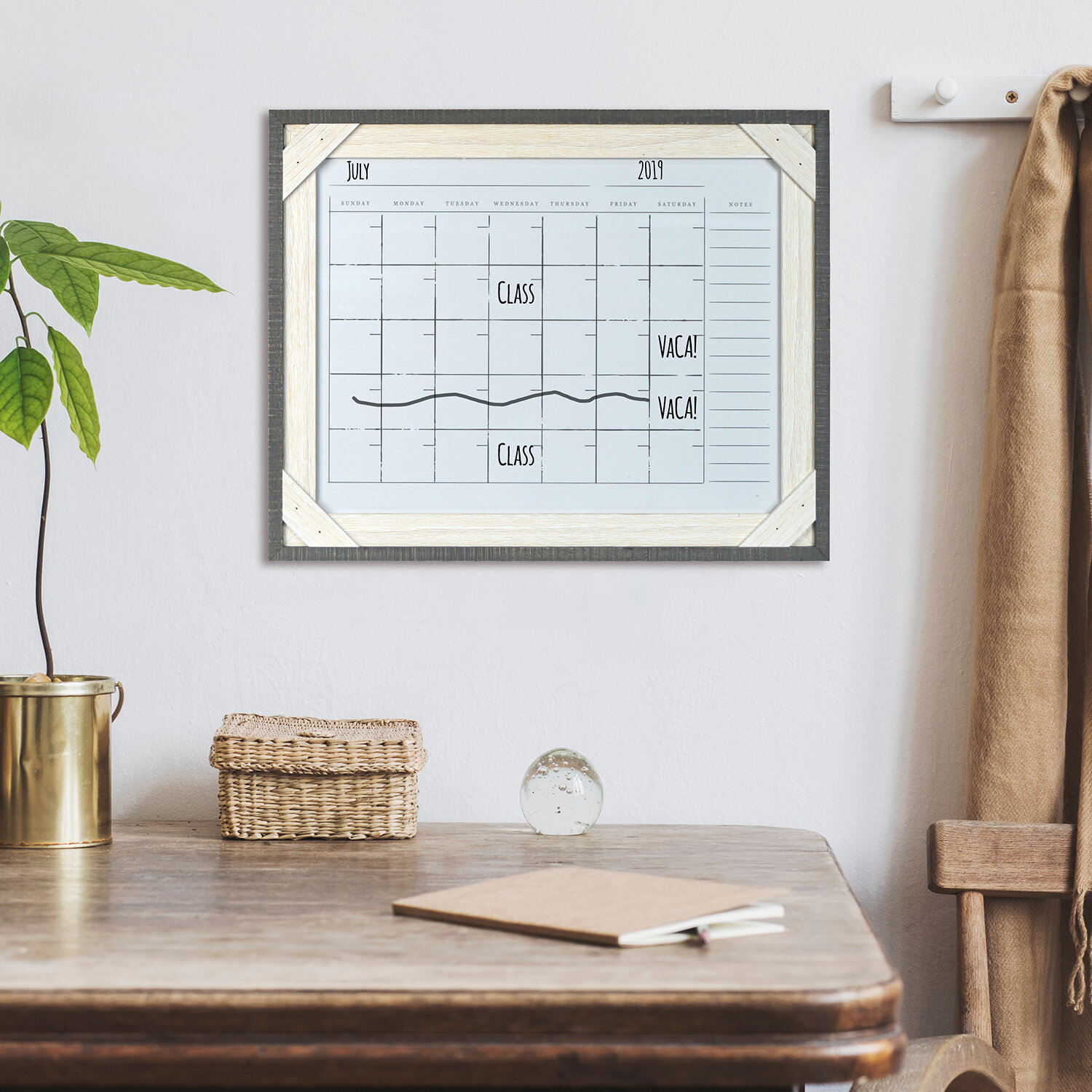 Gracie Oaks Reclaimed Crosshatch Wood Frame Calendar Board Wayfair