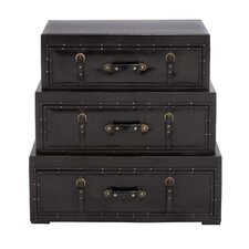 3 Piece Wood Leather Trunk Dresser Set by Cole & Grey