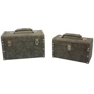 Charlton Home Cushman 2 Piece Texture Mini Trunk Set