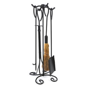 5 Piece Wrought Iron Ring Fireplace Tool Set With Stand