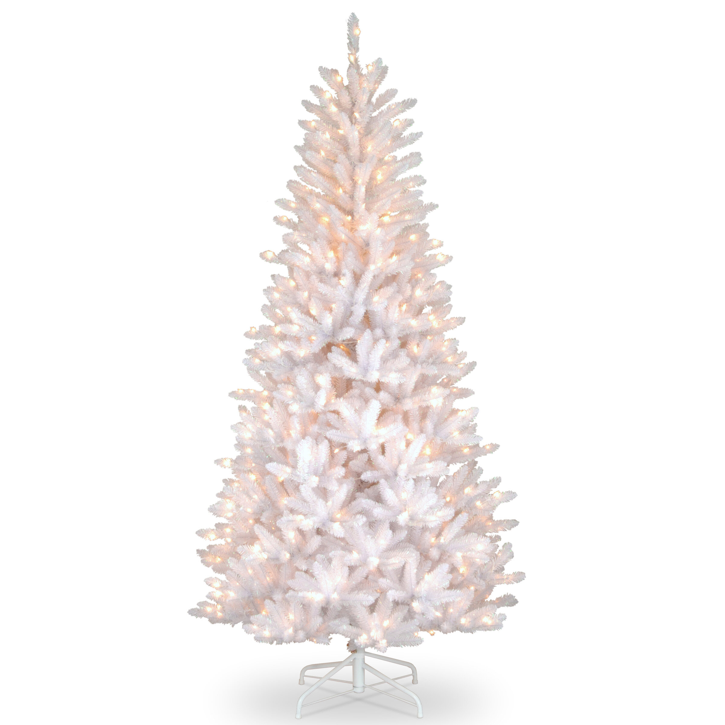 Slim Fir 7 5 White Fir Artificial Christmas Tree With 600 Clear White Lights