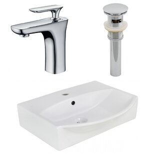 Ceramic Rectangular Bathroom Sink with Faucet and Overflow American Imaginations