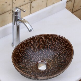 Elimaxs Elite Ceramic Oval Vessel Bathroom Sink