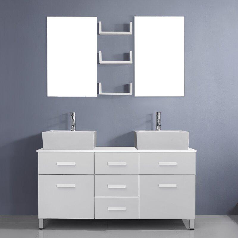 "Ultra Modern Bathroom Vanity virtu usa ultra modern series 56"" double bathroom vanity set with"