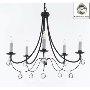 Clemence 5 Light Black Wrought Iron Candle Style Chandelier