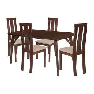 Emil 5 Piece Solid Wood Dining Set by Ebern Designs