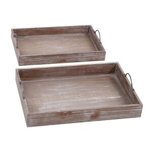 Wood 2 Piece Accent Tray Set