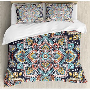 Bohemian Indian Ethnic Vintage Henna Inspired Boho Mehndi Art Marigold Duvet Cover Set