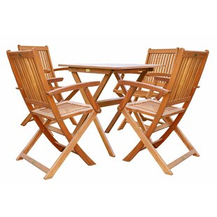 Three Posts Cadsden 5 Piece Folding Bistro Dining Set