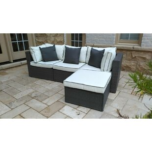 Burruss 4 Piece Patio Sectional With Cushions by Three Posts