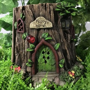 Fairy Garden Tree Trunk House with Solar LED Lights Statue by Hi-Line Gift Ltd.