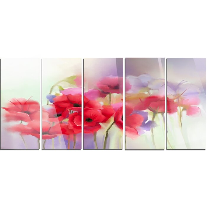 Designart watercolor red poppy flowers painting 5 piece painting watercolor red poppy flowers painting 5 piece painting print on canvas set mightylinksfo Image collections