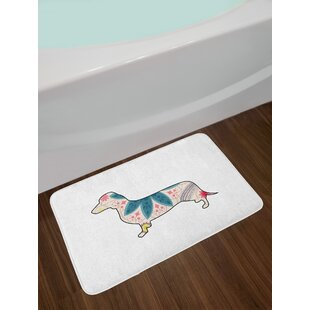 Ambesonne Dachshund Bath Mat by Colorful Ethnic Flowers on a Dachshund Puppy Silhouette Abstract Arrangement, Plush Bathroom Bath Rug